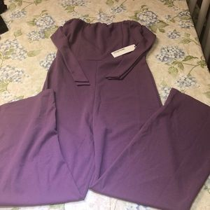 Purple long jumpsuit with tie sleeves